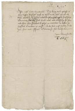 "Darcy of Chice, Thomas Darcy, 1st Baron. Warrant to deliver garments. To Sir Thomas Cawarden. Greenwich. ""this twelf even 1551"""