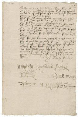 Great Britain. Privy Council. Warrant for the delivery of garments for George Ferrers, lorde of misrule, and others. To Sir Thomas Cawarden. Greenwich.