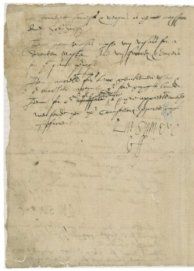 Ferrers, George. Autograph letter initialed. To Sir Thomas Cawarden.