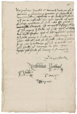 """Great Britain. Privy Council. Warrant for the delivery of garments for eight """"attending on the lorde of Misrule"""". To Sir Thomas Cawarden."""