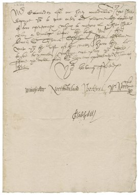 "Great Britain. Privy Council. Warrant to prepare apparel. To Sir Thomas Cawarden. ""St. lawrence poutney"" [London]."
