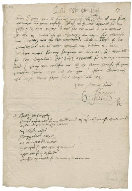 "Ferrers, George. Warrant to deliver apparel and properties, signed. To Sir Thomas Cawarden. Greenwich. ""Saynt John day Anno 1552""."