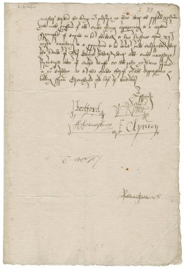 "Great Britain. Privy Council. Warrant to provide for masque for Twelfth night signed by six members. To Sir Thomas Cawarden. Greenwich. ""this last of December 1552""."