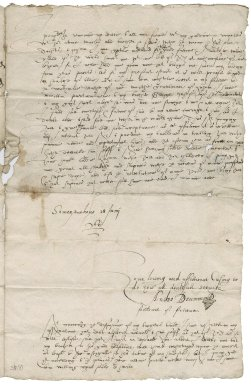 """Letter from Andro Drummond """"Souldart of fortwne"""" to Sylvester Rattray of Craighall, Somerset House"""