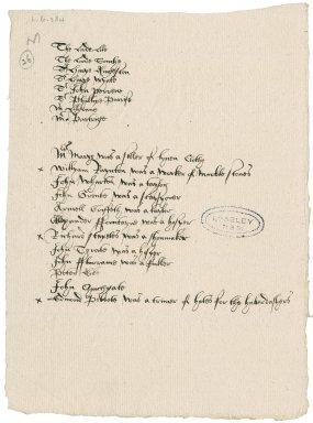 A list of certain inhabitants of Blackfriars.