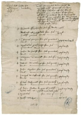Cawarden, Sir Thomas. This bill made the iiijth daye of october 1554. The tenauntes belonginge to my Mr Sir thomas Cardyn within the libertie of the black fryeres yn London with the some of the quartres Rente dewe to be payde...for the tenymentes wherin they do the dwell at the feaste of seint mychaell tharcangell last paste 1554.