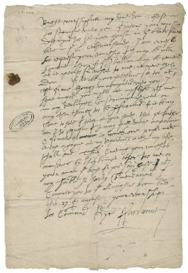 Farrant, Richard. Autograph letter signed. To Sir William More at Loseley. London.