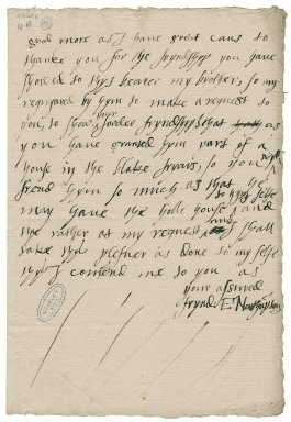 Northampton, Elizabeth (Brooke) Parr, Marchioness of. Autograph letter signed. To Sir William More.