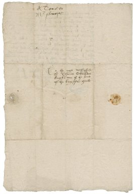 "Stanhope, Sir Michael. Letter. To Sir Thomas Cawarden. ""The courte at Westminster, the xiijth of August"""