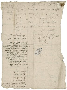 """Ferrers, George. Autograph warrant. To Sir Thomas Cawarden. Greenwich. """"thys monday of ye new yere"""""""