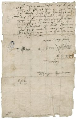 Great Britain. Privy Council. Letter signed. To Sir Thomas Cawarden. Greenwich.