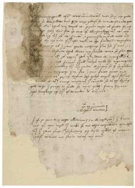 Carew, Thomas. Autograph letter signed. To Sir Thomas Cawarden at Blechingley. Hervey [Castle].