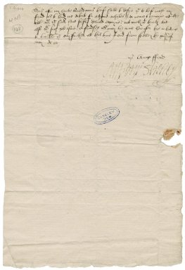 Shelley, Anthony. Letter signed. To Sir Thomas Cawarden. Shelley.