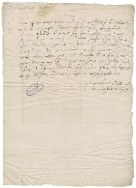 "Vaughan, Cuthbert. Autograph letter signed. To Sir Thomas Cawarden. ""From my logging at the old swan [London] this wenseday in whytson weke [June 8] 1557. [London]."