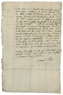 More, Sir George. 1553-1632. Note of an offer of a lease of Whitley Park.