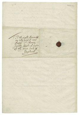 Autograph letter signed from John Donne, Fleet Prison, to Sir Thomas Egerton [manuscript], 1601/1602 February 12.