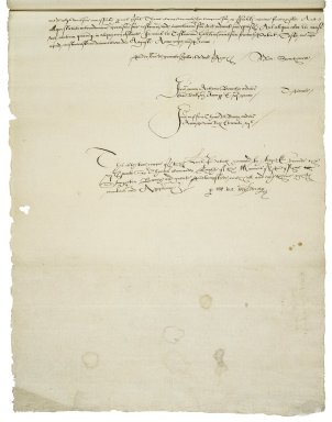 Great Britain. Sovereigns, etc., (Edward VI). Letters patent granting to Sir Thomas Cawarden the manors of Pishoe, Stoughton-Barry, and Great Plumsted. [Original patent: Westminster.