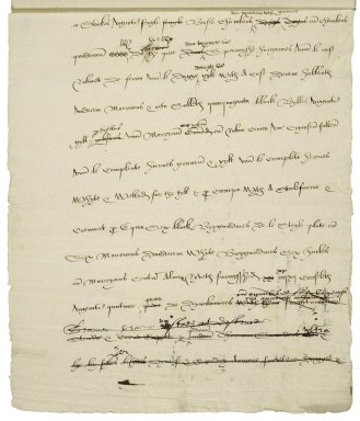 Cawarden, Sir Thomas. Draft of bill of complaint in action against Sir Thomas Saunders in the court of Exchequer.