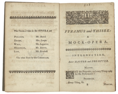 [Midsummer night's dream. Selections] ̤Pyramus and Thisbe : a mock-opera / written by Shakespeare ; set to musick by Mr. Lampe ; perform'd at the Theatre-Royal in Covent-Garden.