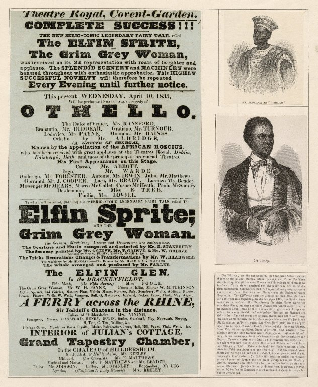 Ira Aldridge's first appearance at Covent Gardens in the role of Othello - a play bill dated 1833