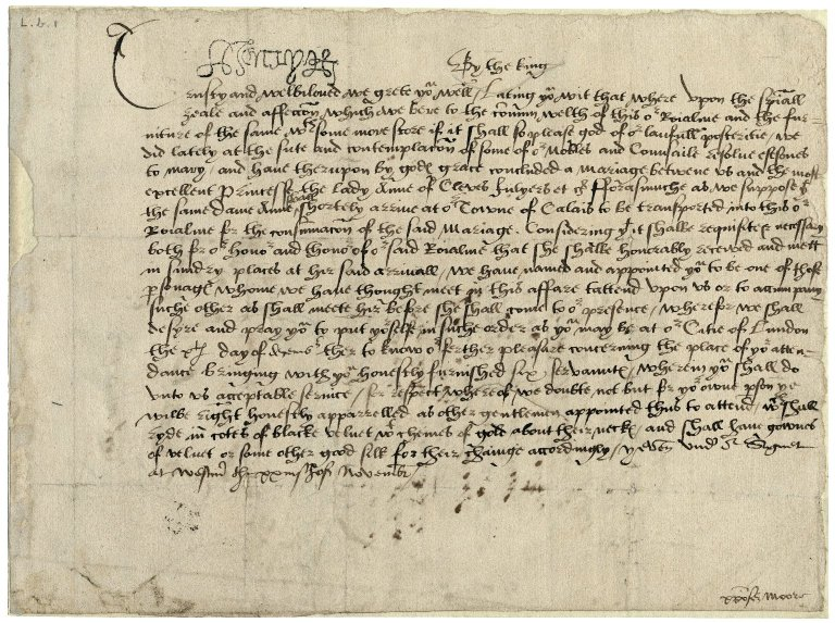 Great Britain. Sovereigns, etc. (Henry VIII). Writ under sign manual and signet. To Christopher More. Westminster.