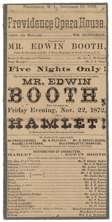 Folger Shakespeare Library Digital Image Collection: Providence Opera House, Providence, Rhode Island. Hamlet. Playbill, 20 November 1872