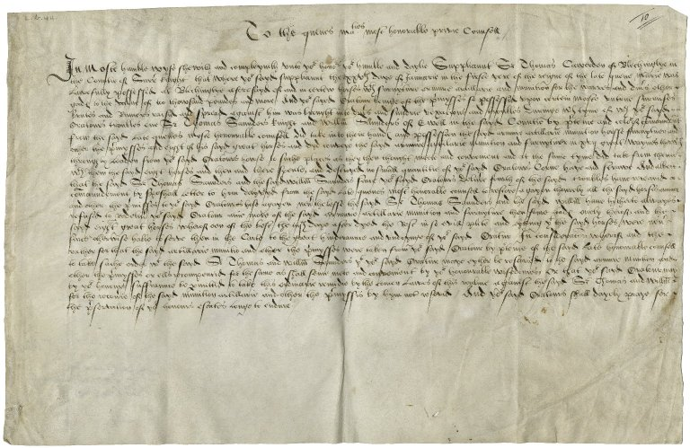 Cawarden, Sir Thomas. Petition to privy council.