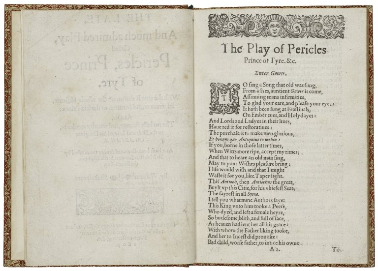 [Pericles] The late, and much admired play, called Pericles, Prince of Tyre.