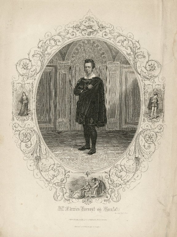 Folger Shakespeare Library Digital Image Collection: Mr. Edwin Forrest as Hamlet drawn by H. Ulke ; engraved by J.C. Buttre.