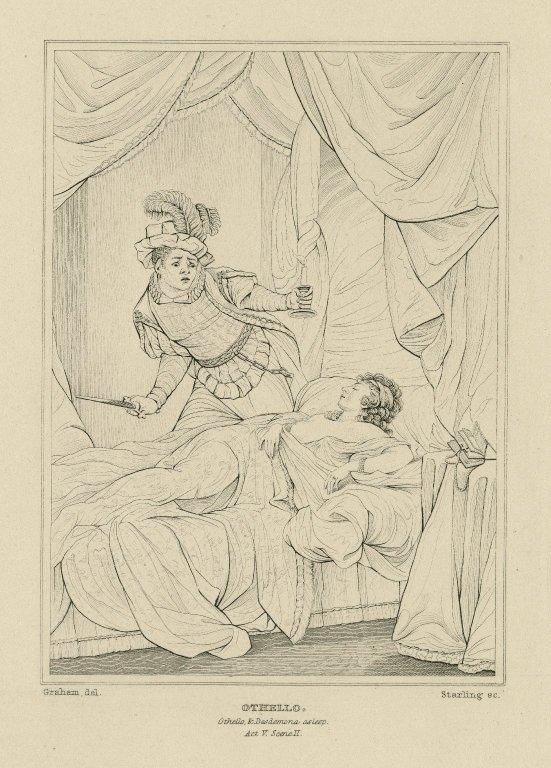 Othello, Othello & Desdemona, asleep, act V, scene II [graphic] / Graham del. ; Starling sc.