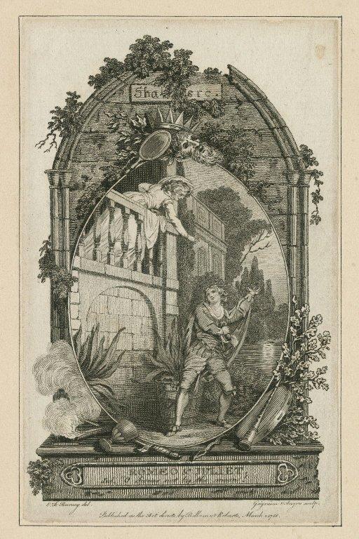 "Romeo & Juliet, Jul.: ""O swear not by the moon!"" [Act II, scene 2] [graphic] / E.F. Burney, del. ; Grignion & Angus, sculp."