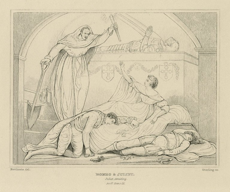 Romeo & Juliet, Juliet awaking, act V, scene III [graphic] / Northcote, del. ; Starling, sc.