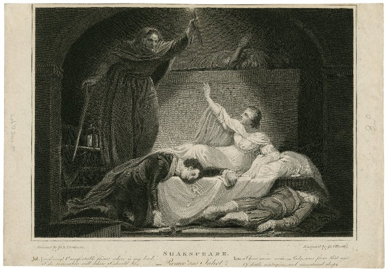 Romeo & Juliet, Juliet awaking, act V, scene III [graphic] / Northcote, del. ; engraved by Jas. Heath.