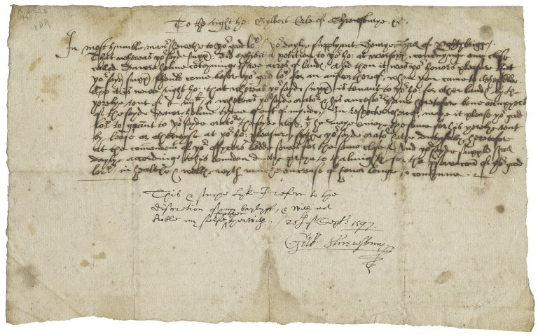Petition from Henry Hall to Gilbert Talbot, Earl of Shrewsbury
