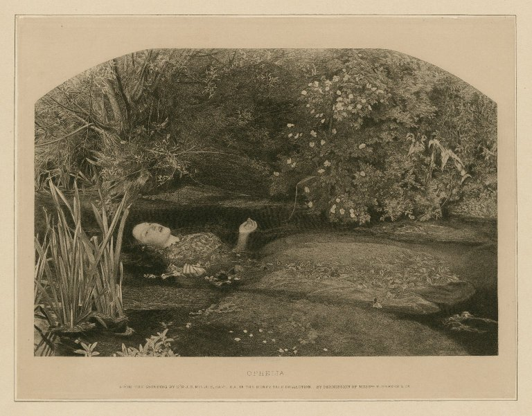 Folger Digital Image Collection: Ophelia [character in Hamlet] [graphic] / From the painting by Sir J. E. Millais, bart.