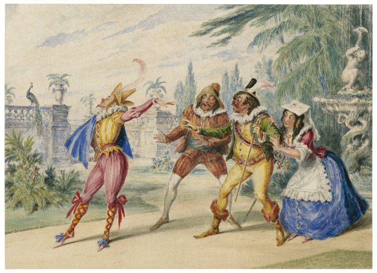 Folger Shakespeare Library Digital Image Collection: Olivia's garden, a scene from Twelfth Night by George Cruikshank (mid 19th cent.)