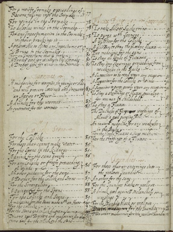 A book of such medicines as have been approved by the special practice of Mrs. Carlyon [manuscript], ca. 1660.