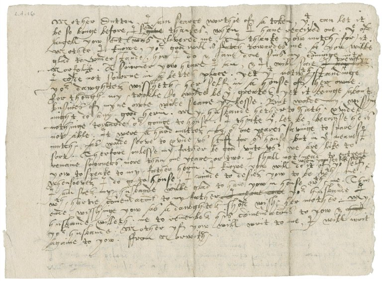 Letters from Anne (Gresham) Bacon to Mistress Dutton and Lady Anne (Ferneley) Gresham : drafts