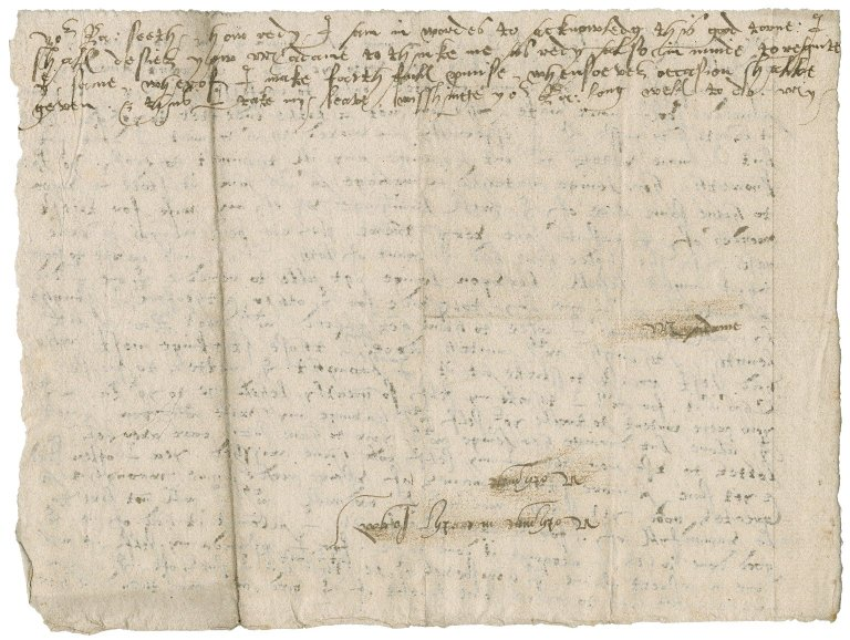 Letter from Nathaniel Bacon to Lady Anne (Cooke) Bacon : autograph manuscript copy or draft