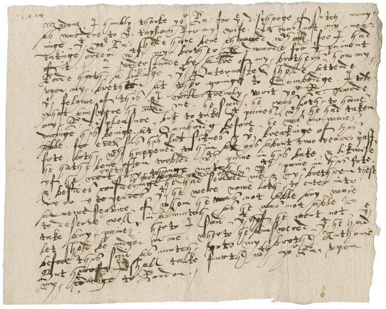 Letter from Nathaniel Bacon to Lady Anne (Cooke) Bacon : copy