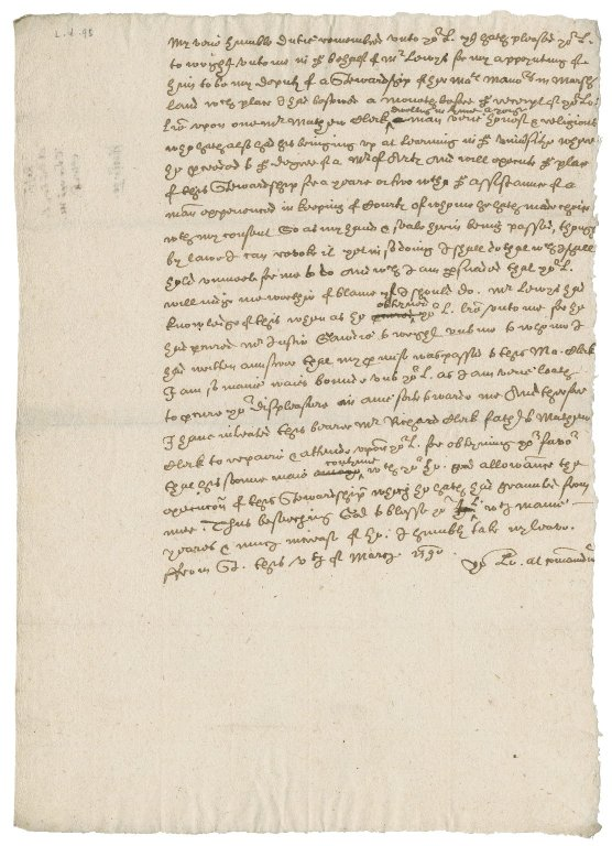 Letter from Nathaniel Bacon to William Cecil, Lord Burghley, Lord Treasurer : copy