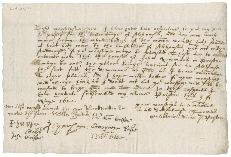 Letter from Thomas Crabtrie to Nathaniel Bacon