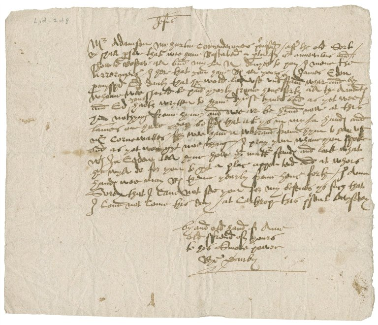 Letter from Richard Danby to William Adamson