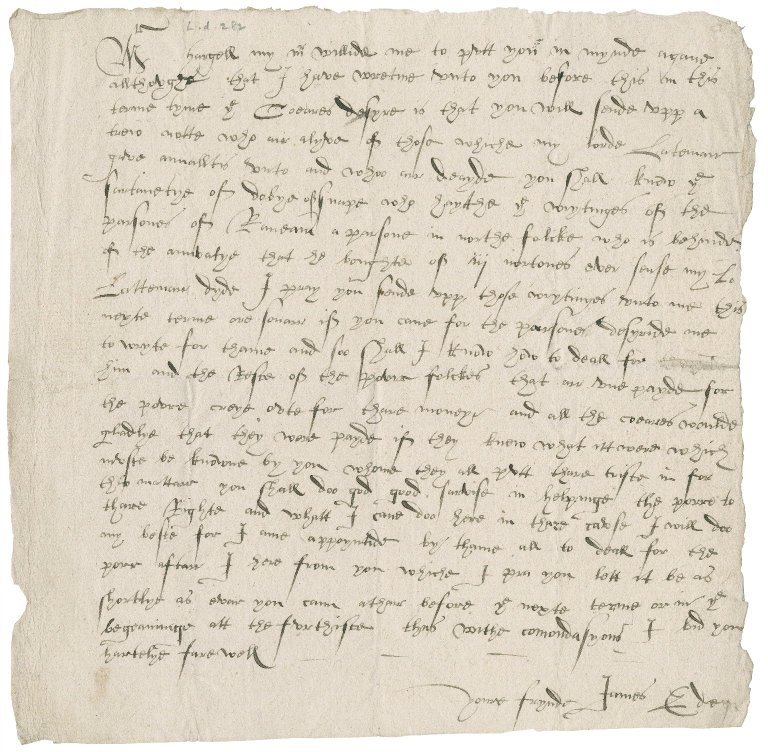 Letter from James Eden to Master Hargell