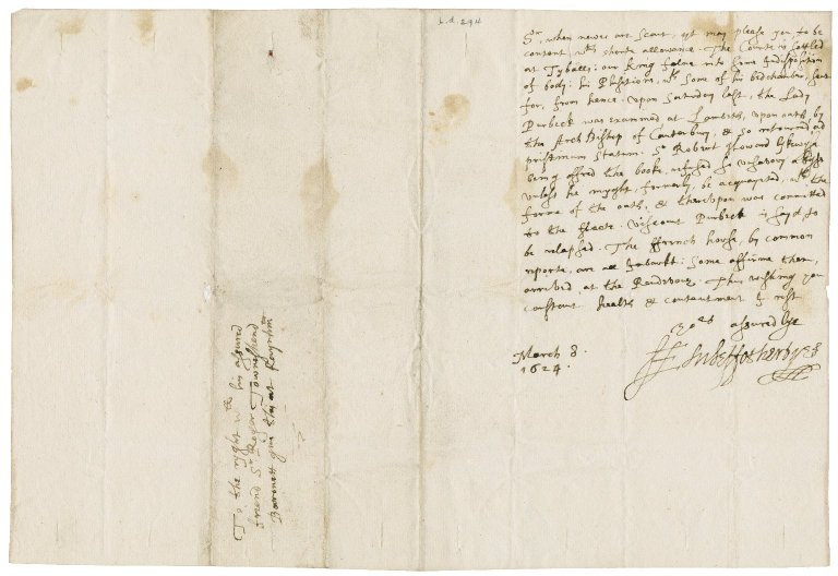 Letter from Edward Fotherby to Roger Townshend, 1st bart.