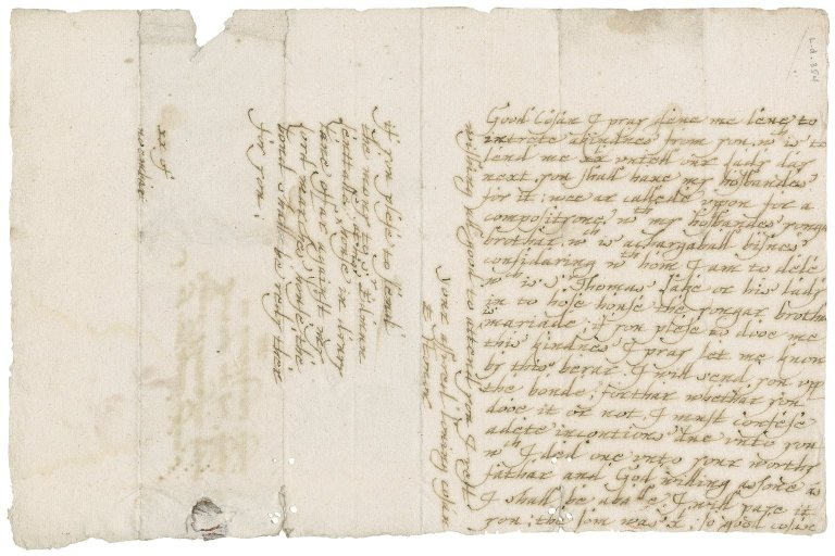 Letter from E. Honor to Roger Townshend, 1st bart.