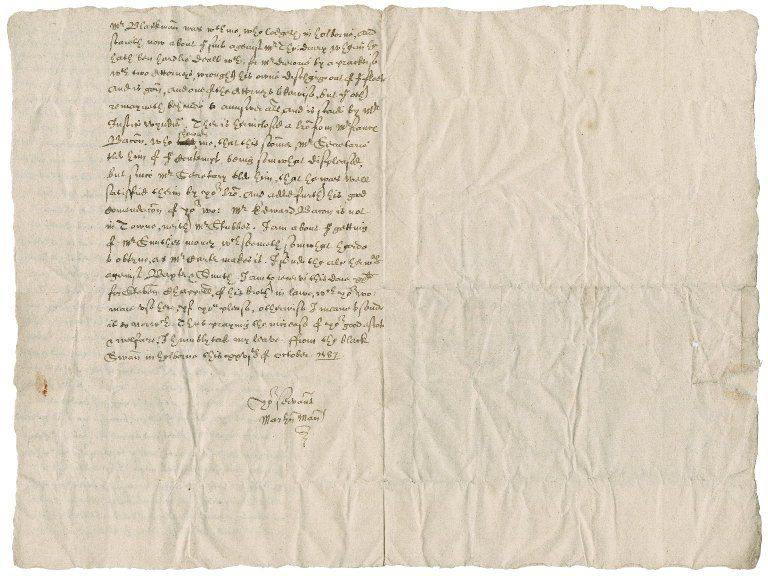 Letter from Martin Man to Nathaniel Bacon