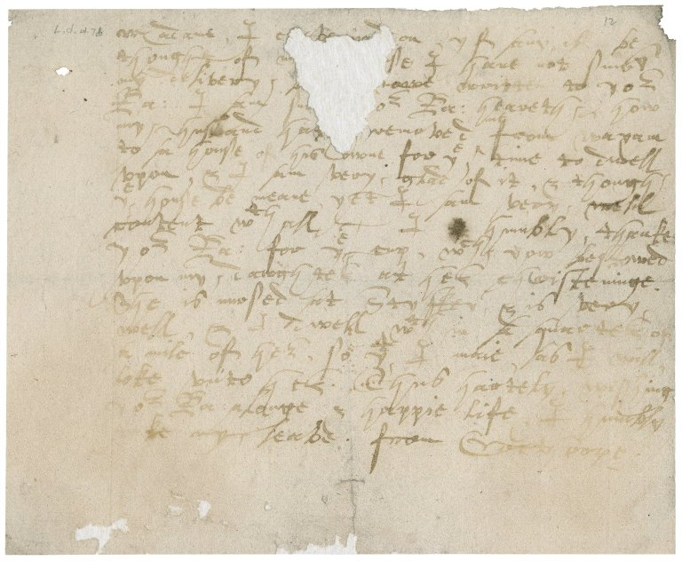 Letter from unknown correspondent to Anne (Gresham) Bacon : copy