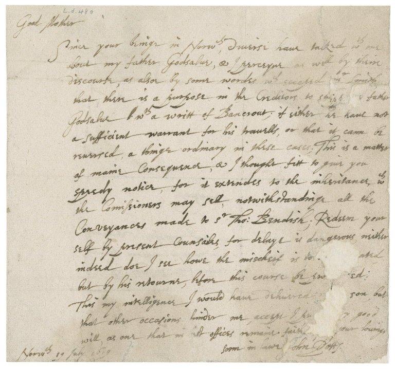 Letter from John Potts to Barbara Godsalve