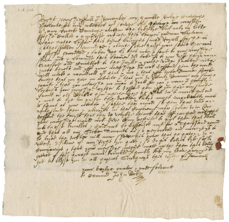 Letter from John Rooke to Nathaniel Bacon